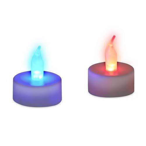 Relaxdays LED Teelicht Farbwechsel, flammenlose Deko, 2er Set, Batteriebetrieben, elektronische Stimmungslichter, bunt