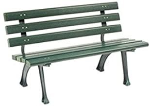 Global Industrial 4'L Park Bench with Backrest, Recylced Plastic, Green