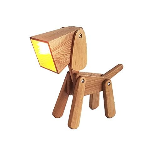 Lámpara de mesa para perros de diseño, mesa de noche plegable de madera maciza regulable, luz de lectura blanca cálida para dormitorio, sala de estar, mesita de noche, mesa auxiliar, sala de café, hab