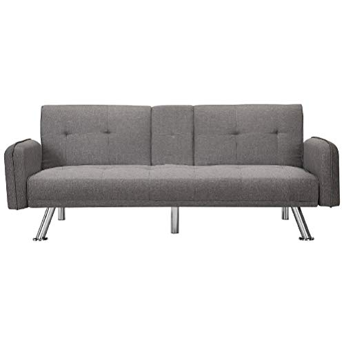 Merax Mini Futon Bed Couch, Modern Sofa Sleeper Design for Living Room or Bedroom, Including Metal Legs and Upholstery Sofabed, 74.8', Light Grey