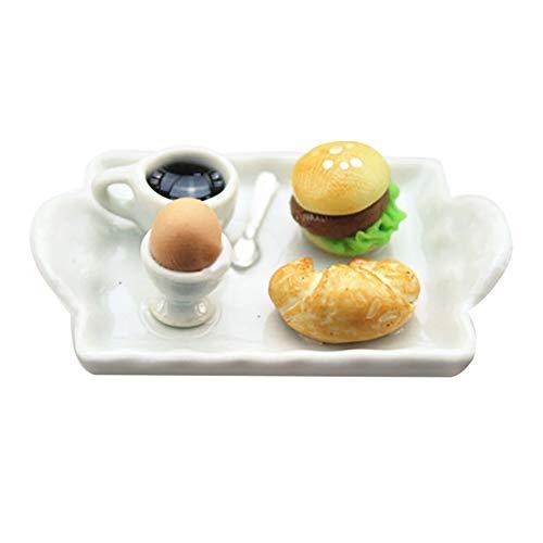 lamta1k Mini Food Plate,Mini Ei Hamburger Brot Couchteller für 1/12 Puppenhaus Miniatur Szene Spielzeug