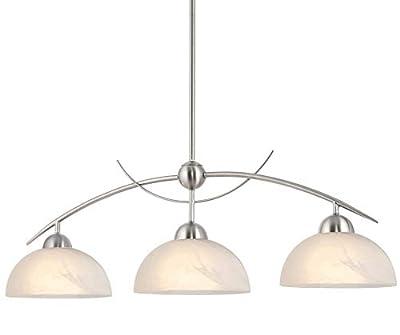 "Kira Home Athena 31"" Modern & Contemporary 3-Light Pendant Island Light + Alabaster Glass Shades, Adjustable Hanging Height, Brushed Nickel Finish"
