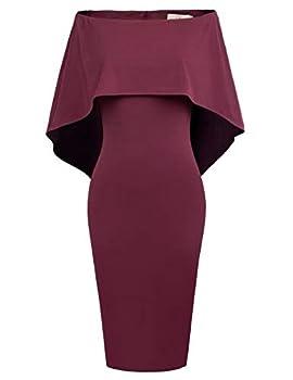 GRACE KARIN Women Knee Length Formal Cloak Gown Homecoming Dress XL Wine Red