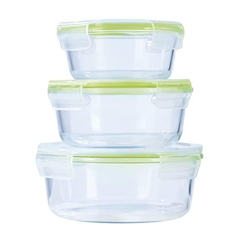 GOURMETmaxx Glas-Frischhaltedosen klick-It 3er Set rund | Spülmaschinen- Mikrowellen- und Gefrierschrankgeeignet | Mit Silikon Dichtungsring, 4-Fach-klick-Verschluss und Vakuumventil [Limegreen]