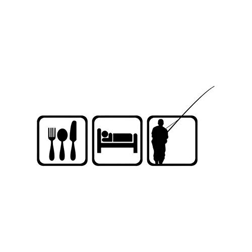 Divertidas pegatinas de coche 16cm * 7.2cm etiqueta engomada de la forma del coche de comer, dormir, volar, pescar y divertirse nofsd (Color : Black)