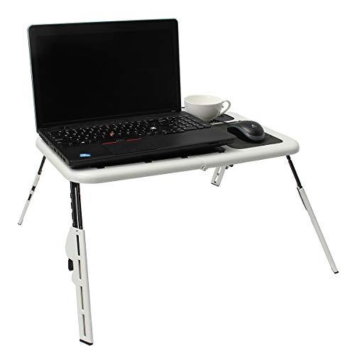 GEVJ Multifunctionele opvouwbare laptop bureautafel, laptopstandaardhouder met 2 USB-koelventilatoren Muismattafel voor bed