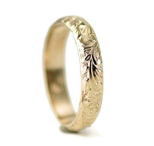 14k Gold Wedding Ring - Vintage Design Ring for Her - Flower Pattern Gold Band