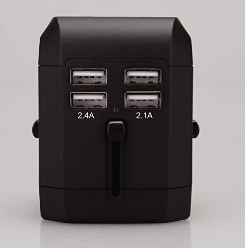 Metronic 495061 Cargador de Viaje Universal Enchufe Adaptador Internacional con 4 Puertos USB para USA, EU, UK, Aust, China, Carga Inteligente Smart IC, Compatible Smartphone, Tablet, Cámara, GPS