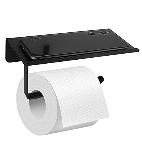Toilettenpapierhalter Papierhalter Edelstahl für Bad und Küche Papierhalter Klopapierhalter WC mit Ablage Papier Halterung, Papierrollenhalter Schwarz Toilettenpapierhalterung