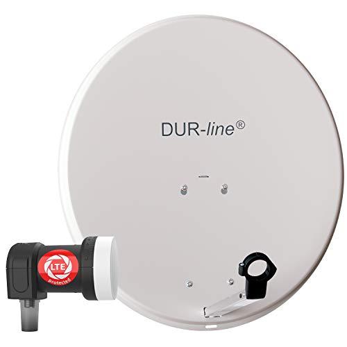 DUR-line MDA 60 Hellgrau - Digiatale 1 Teilnehmer Satellitenschüssel Komplett-Anlage mit +Ultra Single - LNB [Camping, Astra 19,2°, DVB-S/S2, Full HD, 4K, 3D]