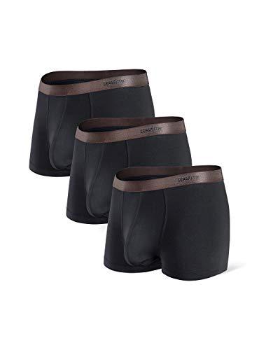 Separatec Herren Boxershorts Glattes Bambus-Rayon mit separaten Beuteln Unterwäsche Boxershorts Stilvolle Badehose, 3er-Pack,M,Kurze Beine: Schwarz