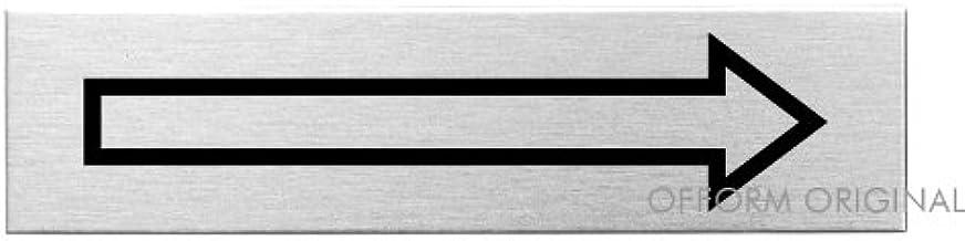 Ofform Placa de puerta l Se/ñal acero inoxidable con texto Flecha l 160x40 mm l No.27083