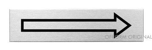 Placa para Puerta – Flecha Dirección | Señal Acero Inoxidable con Pictograma | 160 x 40 mm | Ofform Original Producto No.10174