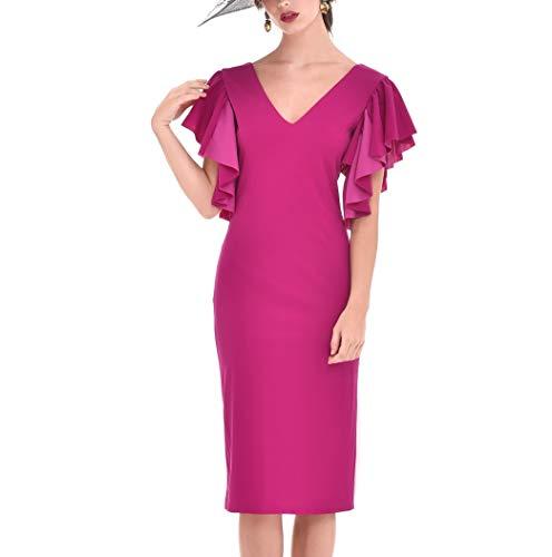 Vestido Mujer Fiesta Boda Evento Elegante Midi Liso Entallado Manga Corta (Bouganvilla, l) P220547