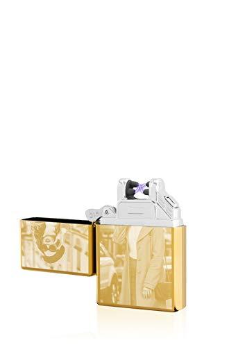 TESLA Lighter T03 Lichtbogen Feuerzeug, mit Foto-Gravur, personalisiert als Geschenk zu Weihnachten, Geburtstag etc. Elektronisches Feuerzeug, wiederaufladbar per USB inkl. Geschenkverpackung Gold