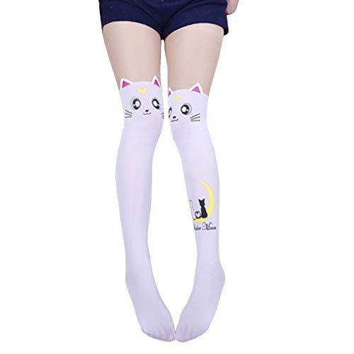 Calcetines por Encima de la Rodilla de Las Mujeres Medias apretadas, Muslo de Gato de Dibujos Animados Medias Altas Niñas Calcetines por Encima de la Rodilla de Sailor Moon Animal Medias largas