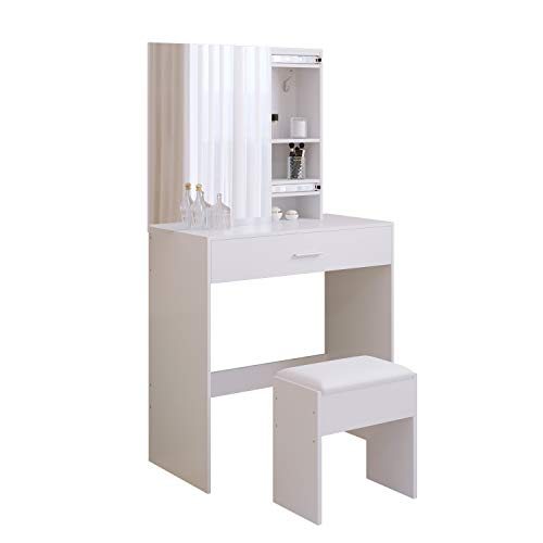 Jooli H Dressing Table Set, White Vanity Makeup Table with Sliding Mirror, Large Drawer and Stool