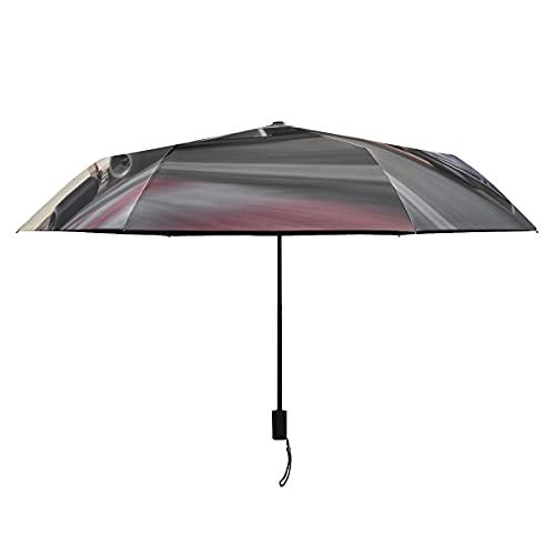 Paraguas de niña para niños Coche de carreras en pista de coches de carreras Paraguas invertido Compacto Portátil Ligero Paraguas invertido a prueba de viento para mujeres Sun Rain-perfect Paraguas p