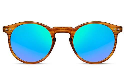 Cheapass Sunglasses Redondas Transparente Madera Montura con Verde Cristales y Lentes UV400 Hombres Mujeres