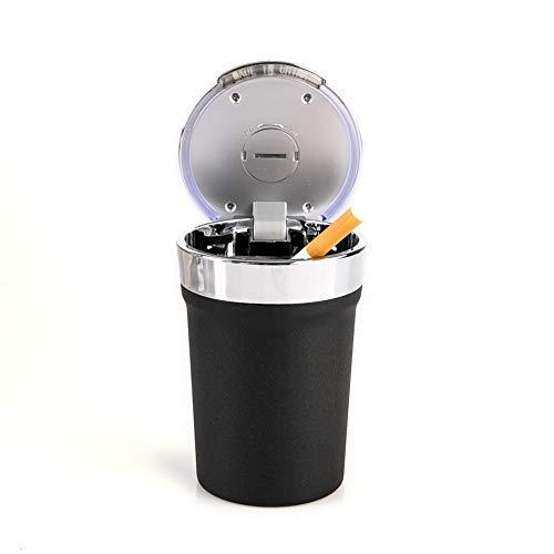 NACHEN Cendrier De Voiture Cendriers Portatifs sans Fumée avec Le Porte-Gobelet Bleu De Voiture De Lumière LED,Black