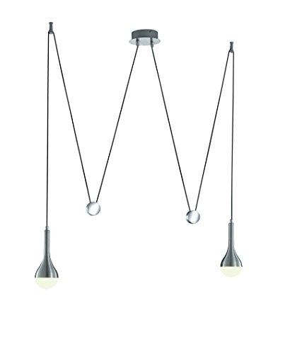 Trio Leuchten LED Pendelleuchte 327910205 Drops, Aluminium gebürstet, Acryl weiß, 2 x 4.5 Watt LED