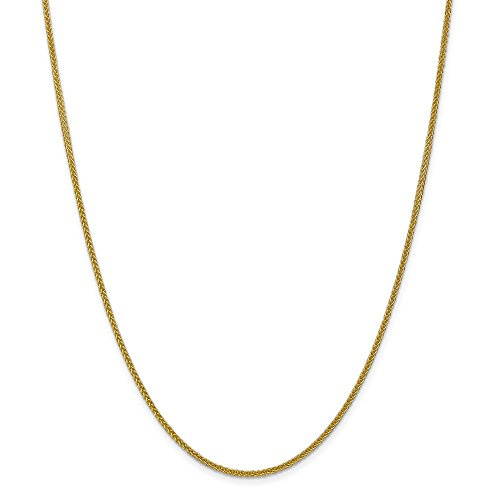 14k Yellow Gold 2mm 3 Wire Link Wheat Chain Necklace 16 Inch Pendant Charm Spiga Fine Jewelry For Women Gifts For Her