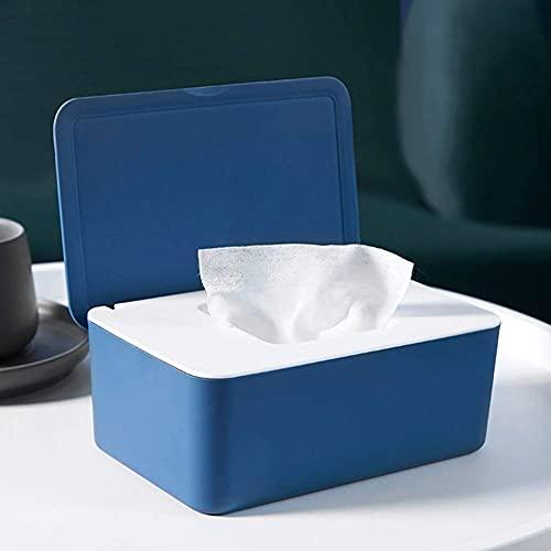 Caja de pañuelos, caja dispensadora de toallitas con tapa para escritorio de hogar (azul blanco)