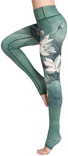 FLYCHEN Damen Hochwertige leggings Galaxy Yogahose Damen Sportleggings Sternenhimmel Jogginghose (143 grüner Lotus,S)