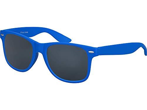 Balinco Original UV400 CAT 3 CE Vintage Unisex Retro Sonnenbrille - verschiedene Farben in Einzel - Doppelpack & Dreierpack wählbar (Einzelpack - Rahmen: Blau Matt, Gläser: Schwarz)