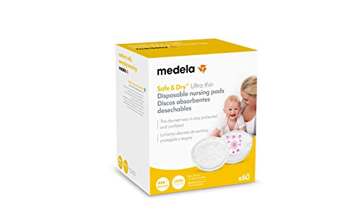 Medela, Safe & Dry Ultra Thin, Coppette Assorbilatte Monouso, Ultrasottili, per Perdite Latte dal Seno, in Morbido Rivestimento Ipoallergenico, Invisibile Sotto i Vestiti, 60 pz