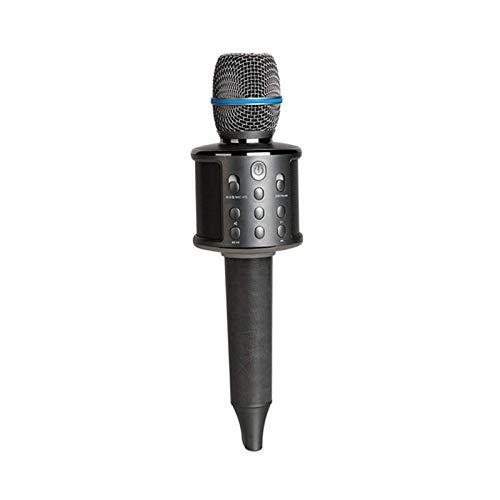 LDDZB Micrófono de Karaoke inalámbrico Multi Funcional, Malla de Metal de Altavoz portátil de Mano Bluetooth, para niños Familia KTV Party, Negro