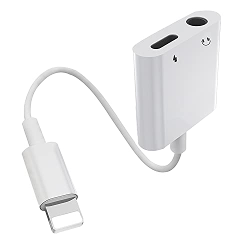 2 en 1 Adaptador de Auriculares para iPhone [Certificado MFi] Conversor de Cable de Audio Auxiliar Lightning a Conector de 3,5 mm Compatible con iPhone 12/11/8/ 8P/ 7/X/XR/XS para Todos los iOS