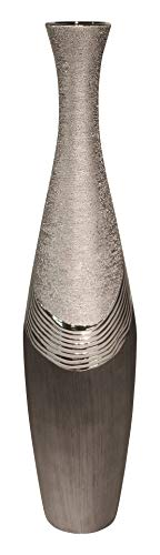 GILDE Dreamlight Collection Vase - aus Keramik in grau Silber H 78 cm D 19 cm