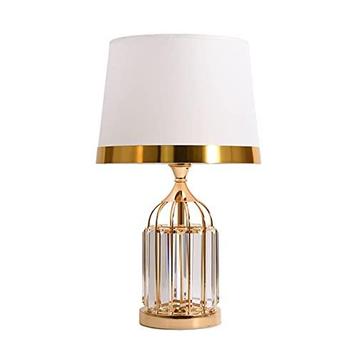 Lámpara de mesa Lámparas de cama de cristal de cristal con paño de tela y base de metal Lámparas de mesa modernas para sala de estar Oficina Transparente Nightlight, 33.5 'H Lámpara mesa de cristal