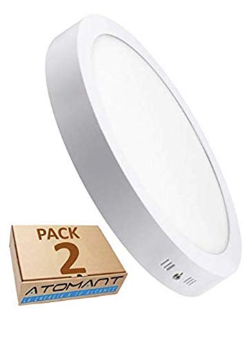 Pack 2x Plafon LED Redondo De Superficie 18W. Color