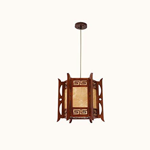 POPAHOME Lustre Lustre rétro chinois/lampes en bois massif restaurant petit palais éclairage villa seule tête lanterne lustre (40 * 38) (Efficacité: A +)