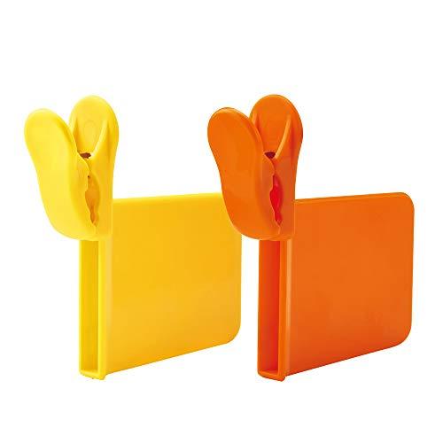 ダイヤ クリップス 仕切りクリップ 冷蔵庫仕切りクリップ オレンジ、イエロー 2個入