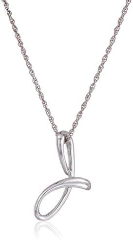 "Amazon Collection Sterling Silver Cursive Script Initial ""J"" Pendant Necklace, 18"""