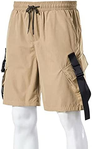 FMSZDSTMDNSDK Short Shorts for Men, Men's Solid Color Casual Cargo Shorts Pants Multi-Pocket Tooling Short (Color : Khaki, Size : XX-Large)