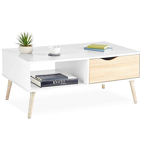 VonHaus Coffee Table With Storage For Living Room – Coffee Table With Shelf – Living Room Lounge Furniture With Soft Close Drawers