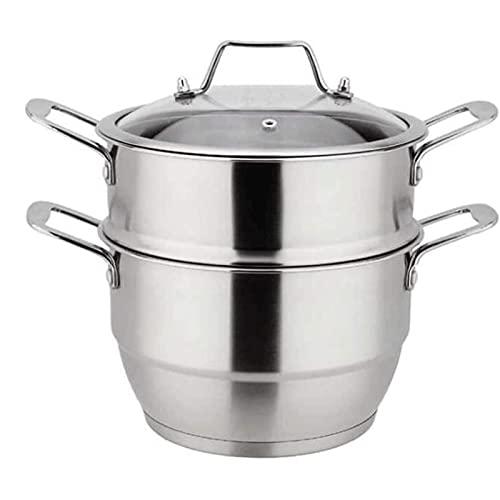 HHTD Pote de Acero Inoxidable Pequeño Vapor de Doble Engrosamiento de Doble Uso Dual Uso de Doble Capa Pote de Sopa de Dos Capas Stef Pot Steamer