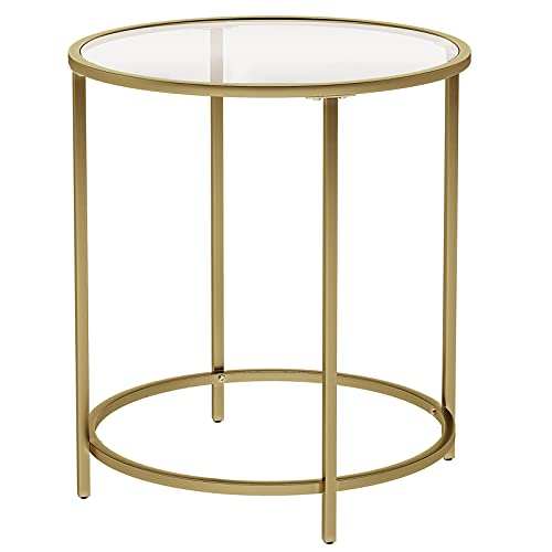 VASAGLE Round Side Table, Tempered Glass End Table with Golden Metal Frame, Small Coffee Table, Bedside Table, Living Room, Balcony, Robust and Stable, Decorative, Gold ULGT20G