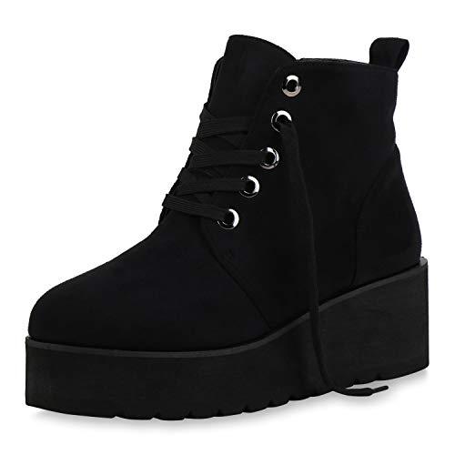 SCARPE VITA Crazy Damen Stiefeletten Plateau Boots Profilsohle Schuhe 144458 Schwarz 36