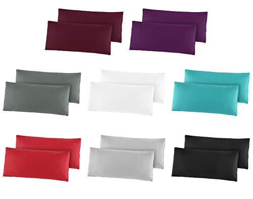 2er Pack Baumwolle Renforcé Kissenbezug, Kissenbezüge, Kissenhüllen 40x60 cm Rot