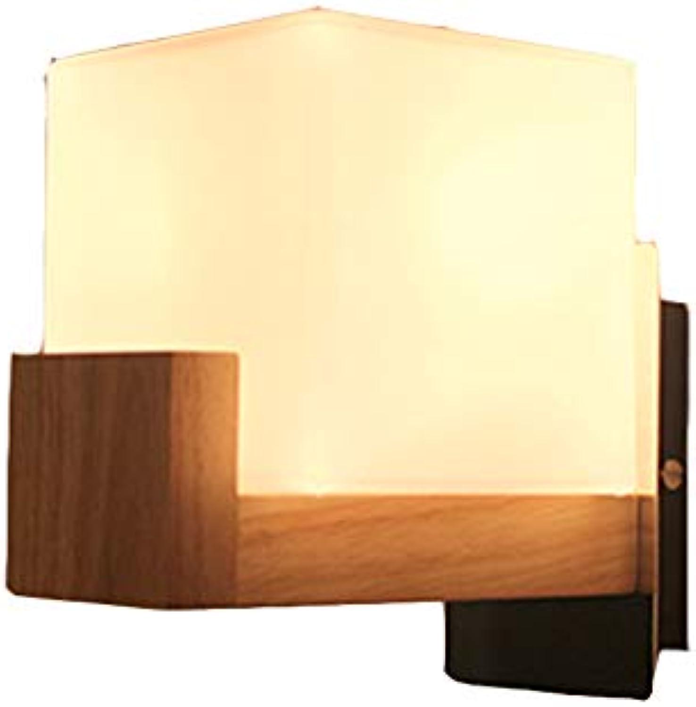 Holz Wandlampe Schlafzimmer Nachttischlampe Wohnzimmer Massivholz Glas Wandleuchte