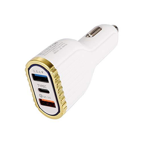 Viesky Schnellladung 3.0 LED Auto Ladegerät 3.5A QC3.0 Turbo Dual USB Typ C Schnellladung Auto Handy Adapter Für Xiaomi Huawei HTC Smart Handys