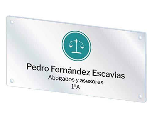 Oedim Placas Personalizadas Rotuladas Fabricadas en metacrilato | 29,7 x 14 cm | Forma Rectangular | Resistente y Económico |