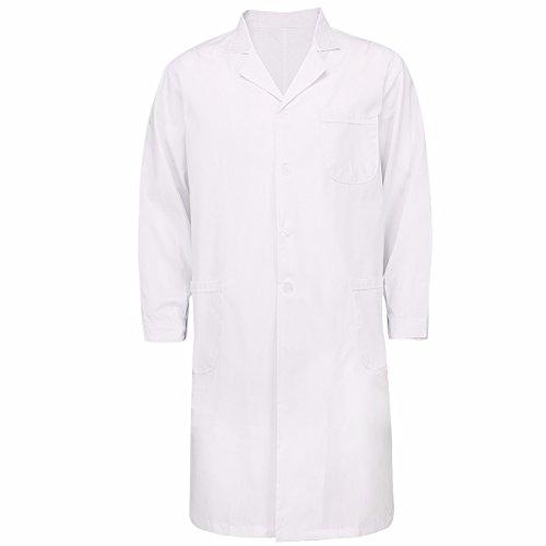 FEESHOW Unisex Arztkittel weiß Baumwolle Laborkittel Medizin Kittel Berufsmantel mit Knöpfe Cosplay Kostüm für Damen & Herren Für Männer XL