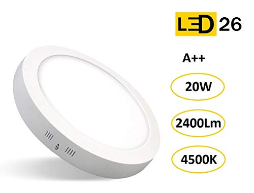 DOWNLIGHT PANEL SUPERFICIE LED CIRCULAR 20W plafon Redondo Para Techo y Pared LUZ BLANCA NEUTRA [Clase de eficiencia energética A++]