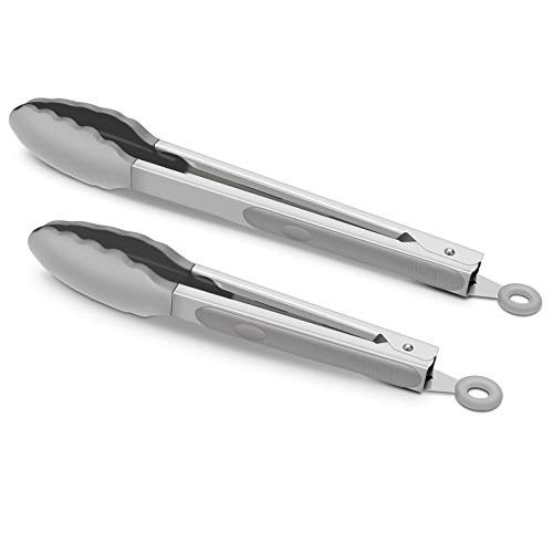 Premium Stainless Steel Food Tongs, 9-Inch & 12-Inch Grey Silicone BPA Free Non-Stick BBQ Cooking Grilling Locking Kitchen Tong